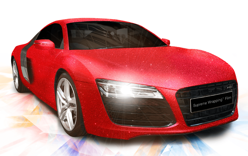 Red car with diamond line supreme wrapping film